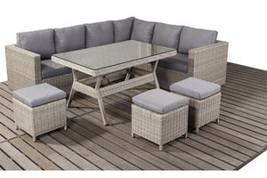 Natural Wicker Style Rattan Corner Dining Sofa Set | Coast Range - Gardenbox