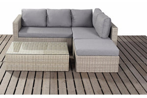 Right or left sided small corner natural wicker style rattan garden sofa set by Gardenbox
