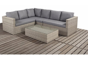 Natural Wicker Style Rattan Large Corner Sofa Set by Gardenbox