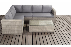 Mixed grey cushions on a natural wicker style rattan weave large corner garden sofa furniture set