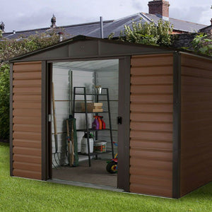 Metal Garden Shed Wood Grain Effect 8ft Wide by 6ft Deep 86WGL by Yardmaster - Gardenbox