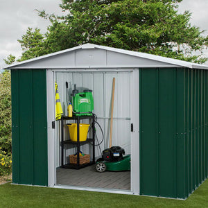 Metal Garden Shed 8ft Wide by 7ft Deep in Green 87GEYZ by Yardmaster - Gardenbox
