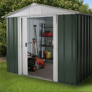Metal Garden Shed 8ft Wide by 9ft Deep in Green 89GEYZ by Yardmaster - Gardenbox