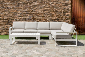 Amalfi Large Corner Metal Sofa Set by Maze Rattan - Gardenbox