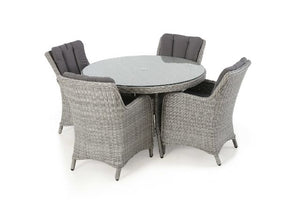 Ascot 4 Seat Round Dining Set with Weatherproof Cushions by Maze Rattan - Gardenbox