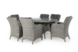 Ascot 6 Seat Oval Dining Set with Weatherproof Cushions by Maze Rattan - Gardenbox