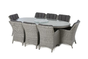 Ascot 8 Seat Oval Dining Set with Weatherproof Cushions by Maze Rattan - Gardenbox