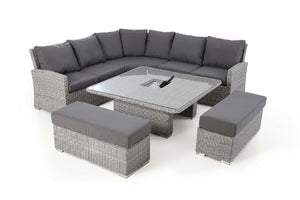 Ascot Deluxe Corner Dining Set with Rising Table, Ice Bucket & Weatherproof Cushions by Maze Rattan - Gardenbox