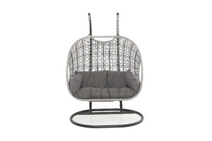 Ascot Double Hanging Chair with Weatherproof Cushions by Maze Rattan - Gardenbox