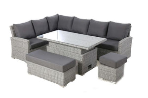 Ascot Rectangular Corner Dining Set with Rising Table and Weatherproof Cushions by Maze Rattan - Gardenbox