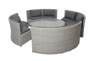 Ascot Round Sofa Dining Set with Rising Table & Weatherproof Cushions by Maze Rattan - Gardenbox
