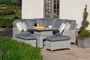 Ascot Square Corner Dining Set with Rising Table and Weatherproof Cushions by Maze Rattan - Gardenbox