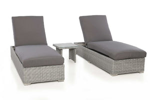 Ascot Sun Lounger Set with Weatherproof Cushions by Maze Rattan - Gardenbox