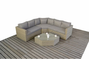 Natural Wicker Style Rattan Angled Corner Sofa by Gardenbox