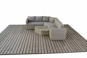 Angled Corner Garden Sofa set with Mixed Grey cushions by Gardenbox