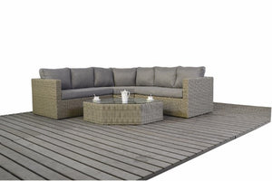 Natural Wicker Style Rattan Angled Corner sofa with Mixed Grey cushions by Gardenbox