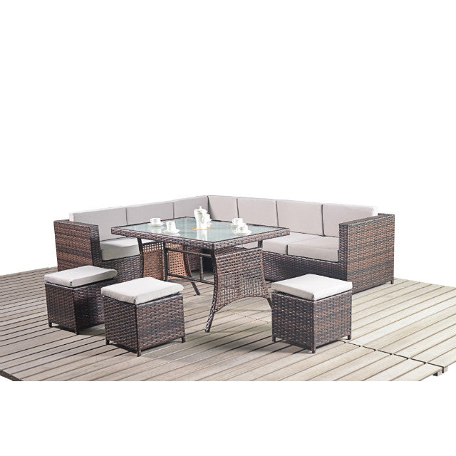 Funky Rattan Corner Dining Sofa Garden Furniture Set