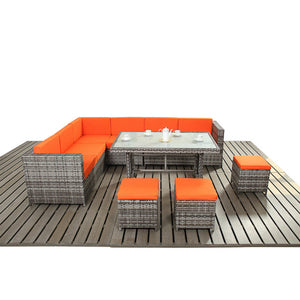 Funky Rattan Corner Sofa and Dining Table Garden Furniture Set - Gardenbox Coast Range - Gardenbox