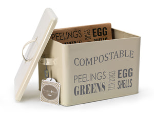 Enamel Large Kitchen Recycle Bin Compost Caddy - Choice of Colours - Gardenbox