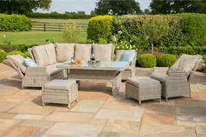 Cotswold Reclining Corner Dining Set with Rising Table & Chair by Maze Rattan - Gardenbox