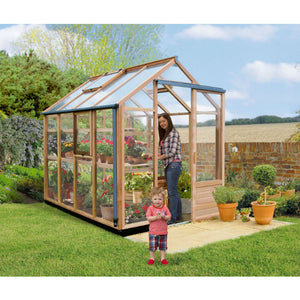 Western Red Cedar is used in the 6ft wide by 8ft long Gabriel Ash Greenhouse