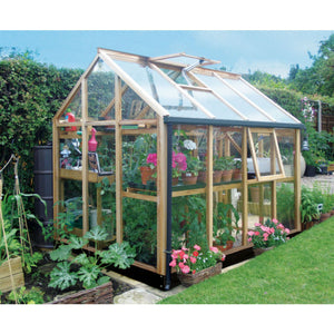Gabriel Ash Essentials 6x8 Greenhouse with Roof & Side Vents open