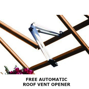 Free Auto Roof Vent Opener with every Gabriel Ash Wooden Greenhouse