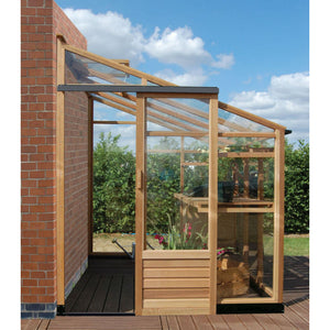 Sliding door access on the 6x10 Gabriel Ash Cedar Lean-To Greenhouse
