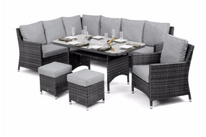 Venice Corner Sofa Dining Set with Armchair Ice Bucket & Rising Table by Maze Rattan - Gardenbox