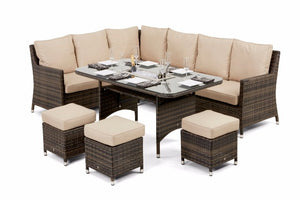 Venice Corner Sofa Dining Set with Ice Bucket & Rising Table by Maze Rattan - Gardenbox