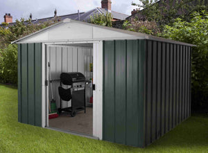 Metal Garden Shed 10ft Wide by 10ft Deep in Green 1010GEYZ by Yardmaster - Gardenbox