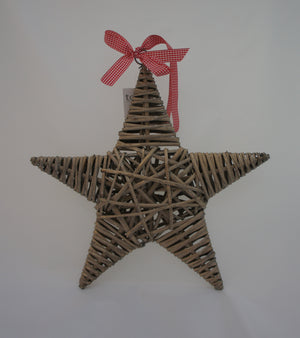 Shabby Chic Rattan Hanging Star Decoration - Choice of Sizes - Gardenbox