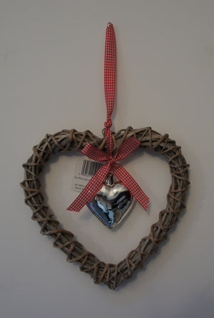 Shabby Chic Hanging Heart in Grey Willow with Central Glass Heart - Gardenbox