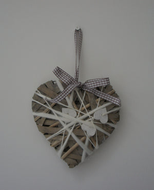 Hanging Heart in Grey & Brown with Small White Hearts - Gardenbox