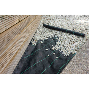 1M wide by 20M Woven Weed Control Landscape Fabric Sheeting with Pegs - Gardenbox
