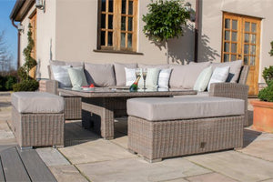 Harrogate Deluxe Corner Dining Set with Rising Table, Ice Bucket & Weatherproof Cushions by Maze Rattan - Gardenbox
