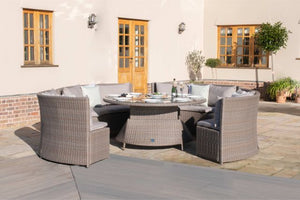 Harrogate Round Sofa Dining Set with Rising Table & Weatherproof Cushions by Maze Rattan - Gardenbox