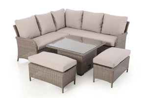 Harrogate Square Corner Dining Set with Rising Table and Weatherproof Cushions by Maze Rattan - Gardenbox