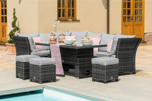Henley Corner Dining Set with Rising Table by Maze Rattan - Gardenbox