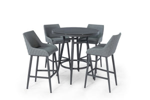 Maze Rattan Regal 4 Seat Round Bar Set In Weatherproof Fabric
