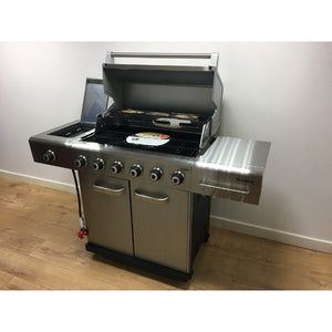 Outback Jupiter 6 Burner Stainless Steel Gas BBQ - Free Pizza Stone & Griddle