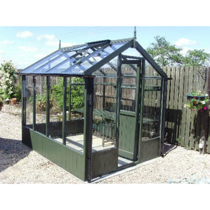 Swallow Wooden Greenhouse finished in Olive