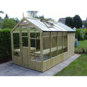 Natural wood finish of the Swallow Kingfisher Greenhouse Shed Combi