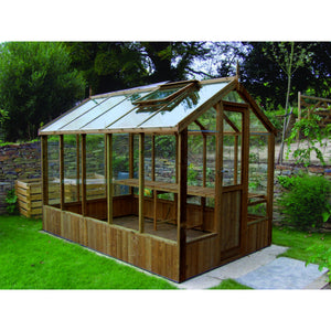 Swallow Wooden Greenhouse finished in natural Thermowood
