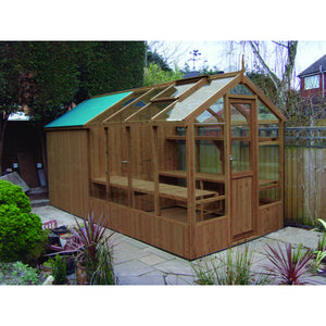 Swallow Kingfisher 6x8 Wooden Greenhouse and Shed Combi in Natural Wood