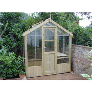 Single Door on the Kingfisher Greenhouse in natural Thermowood made by Swallow