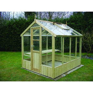 Kingfisher 6x8 Wooden Greenhouse finished in Natural Wood