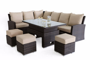 Kingston Corner Sofa Dining Set with Rising Table by Maze Rattan - Gardenbox