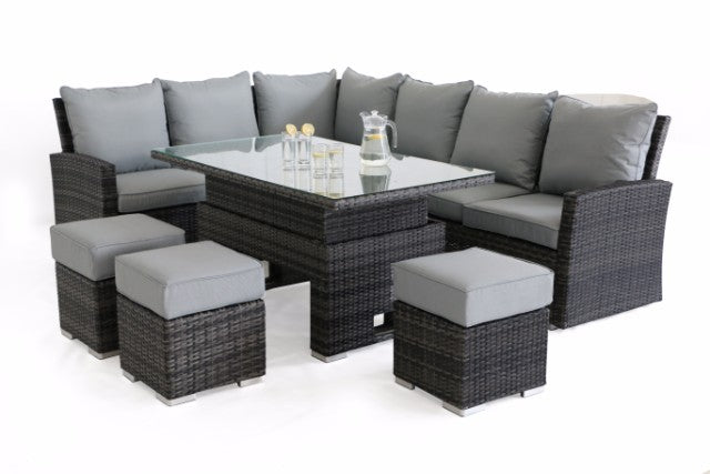 Kingston Corner Sofa Dining Set with Rising Table by Maze Rattan