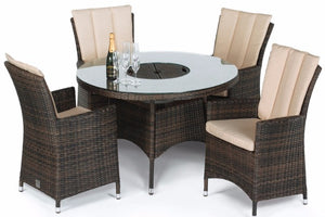 LA 4 Seat Round Dining Set with Ice Bucket by Maze Rattan - Gardenbox
